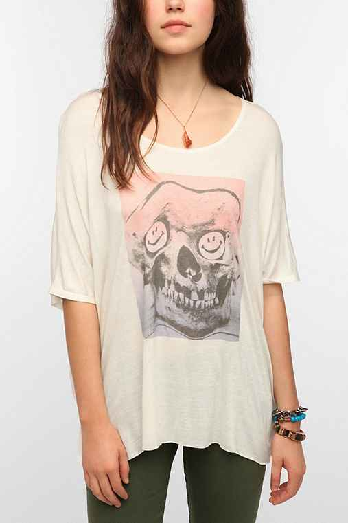 Daydreamer LA Smiley Skull Oversize Tee