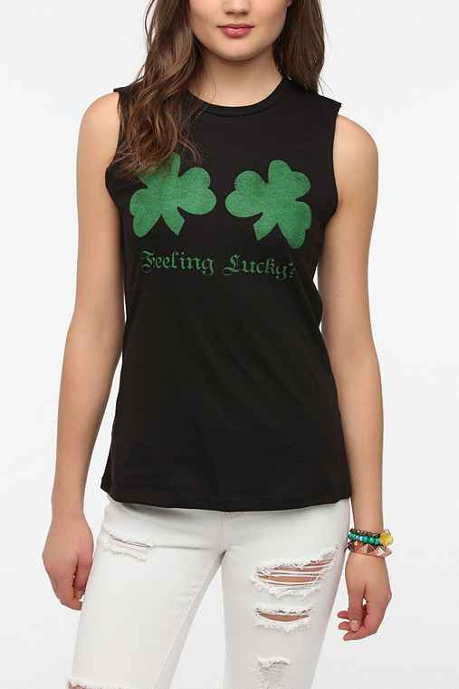 Corner Shop Feeling Lucky Shamrock Muscle Tee