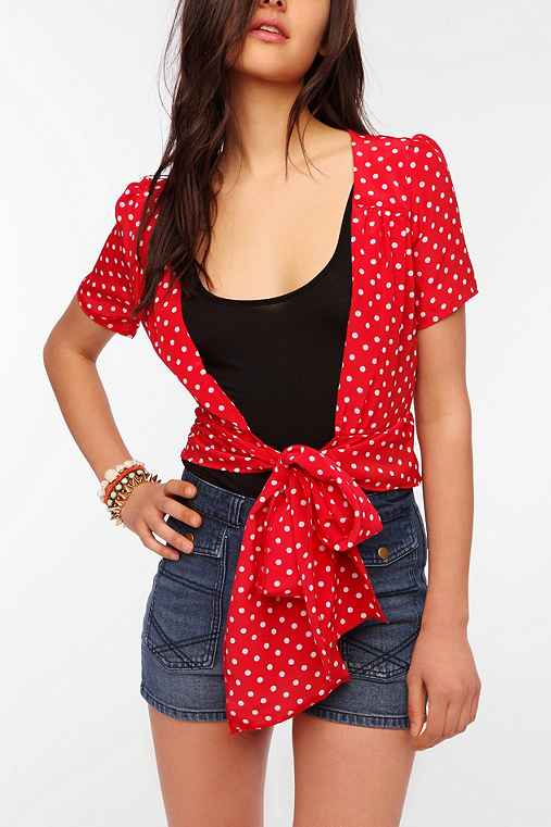 Urban Renewal Polka Dot Tie Front Shirt