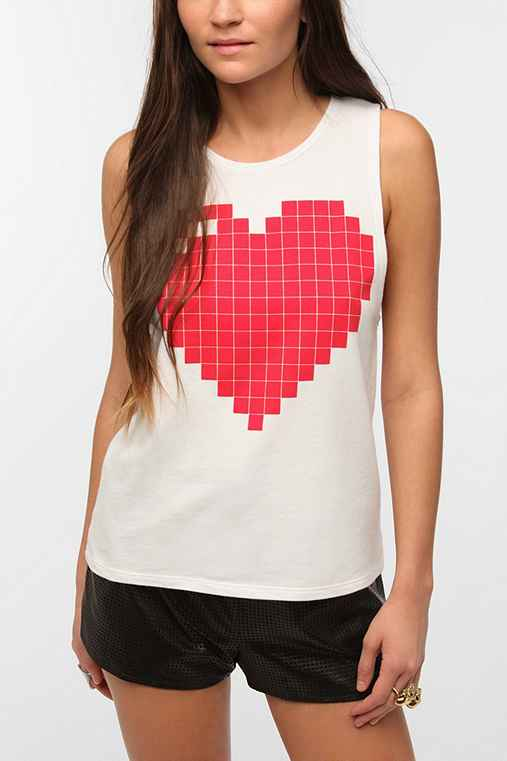 Le Shirt Pixilated Heart Thermal Tank Top