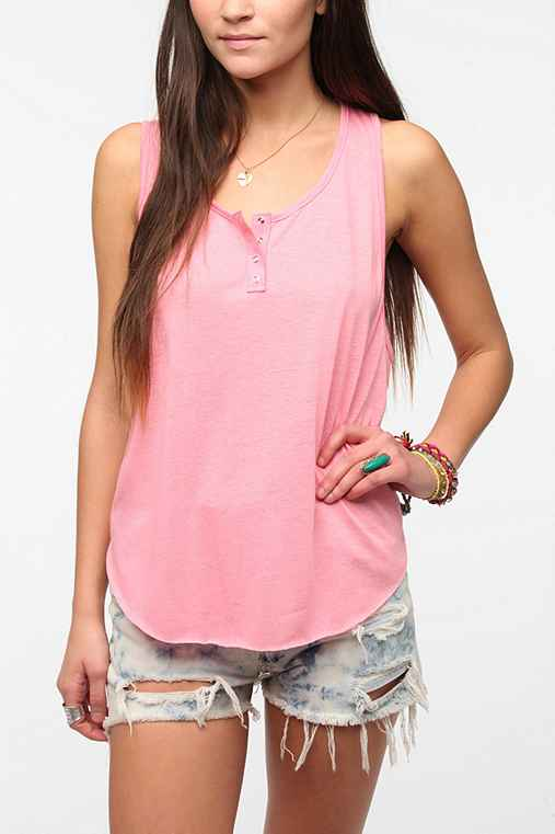 Daydreamer LA Snap Henley Flecked Tank Top