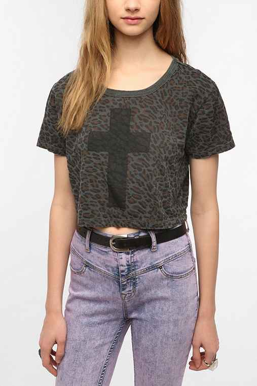 Truly Madly Deeply Leopard Cross Cropped Tee