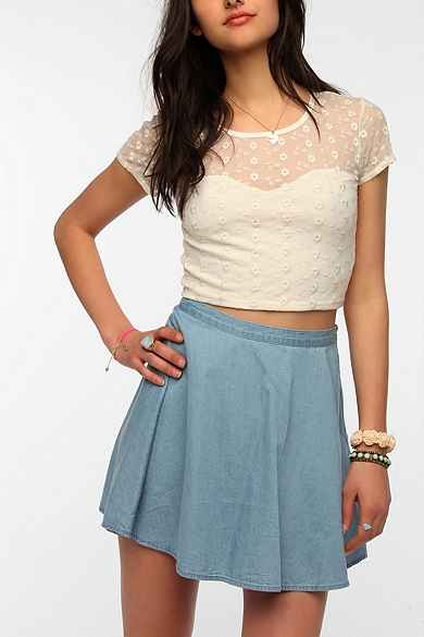 Pins And Needles Patterned Mesh Cropped Top