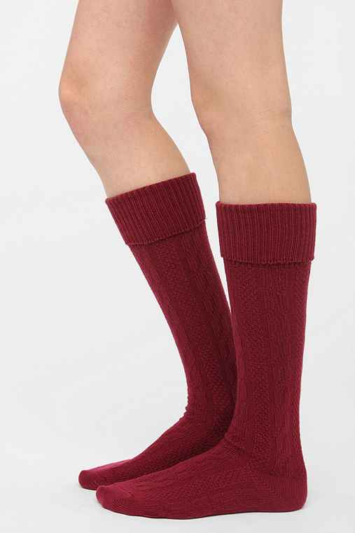 Soft Cable Cuffed Knee-High Sock