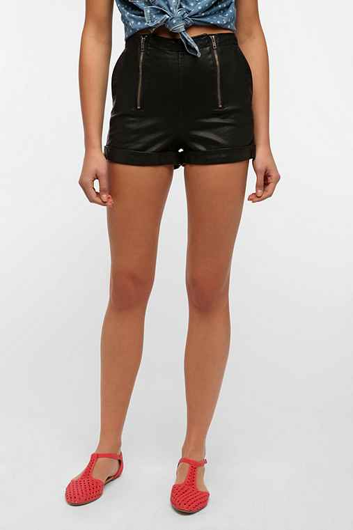 Silence + Noise Channing Double Zip Vegan Leather Short