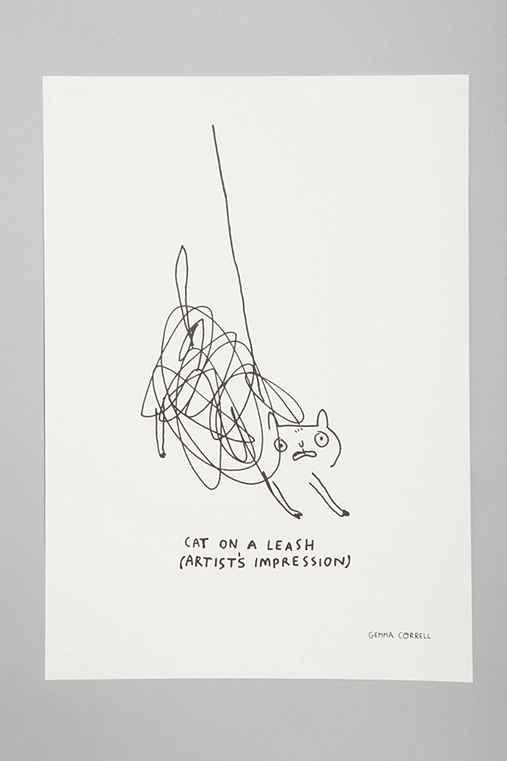 Gemma Correll For Society6 Cat On A Leash Art Print