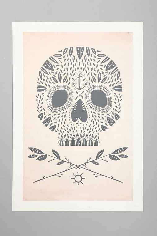 Kelli Murray For Society6 Leaf Skull Art Print