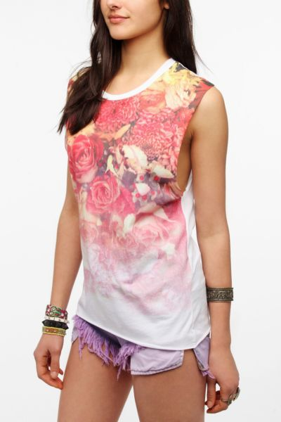 Blood Is The New Black Floral Print Muscle Tee
