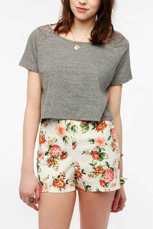 Pins And Needles Cropped Lace Inset Tee