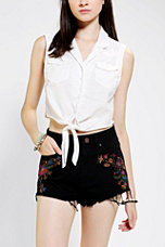 Kimchi Blue Tie-Front Sleeveless Denim Shirt