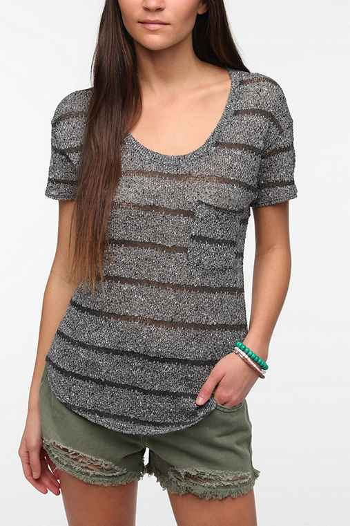 BDG Marled Sweater Knit Pocket Tee