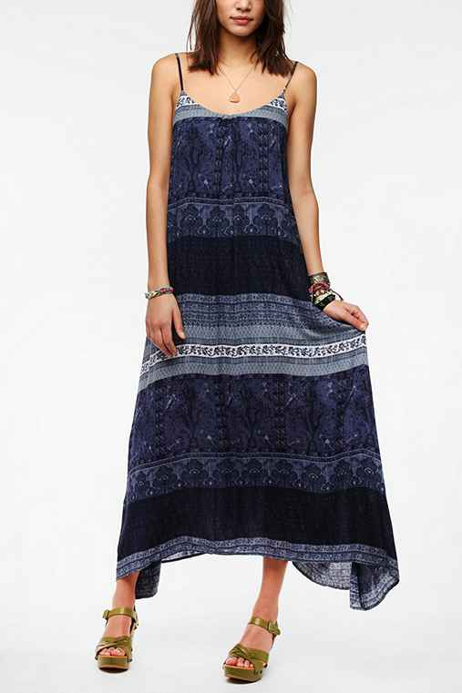 Ecote Printed Tie-Back Maxi Dress