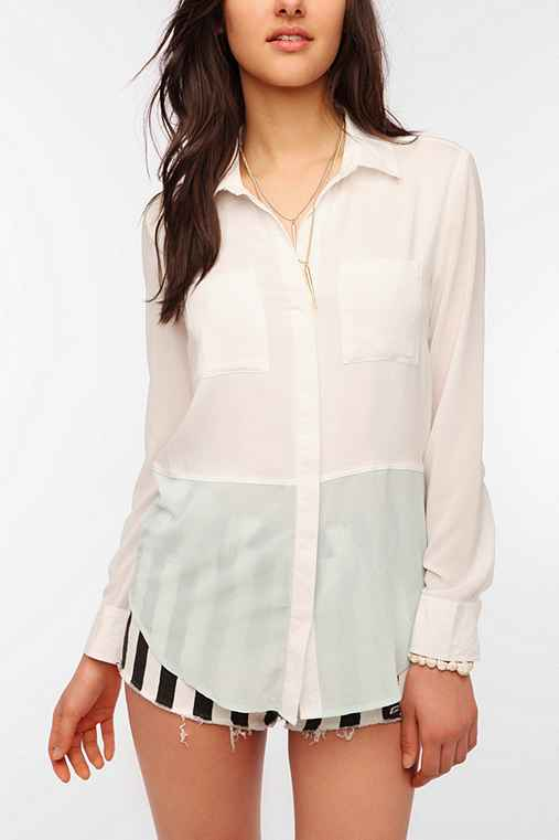 Sparkle & Fade Fabric Mix Button-Down Blouse