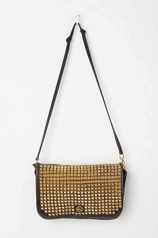 Vintage Studded Turn-Lock Black Coach Bag