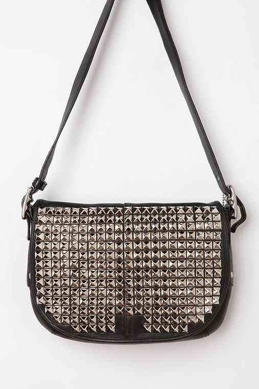 Vintage Studded Small Black Coach Pouch Bag