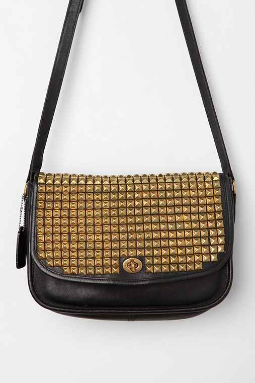 Vintage Studded Blue Leather Turn-Lock Coach Bag