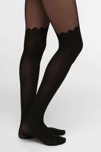 Scallop Faux Thigh-High Tight