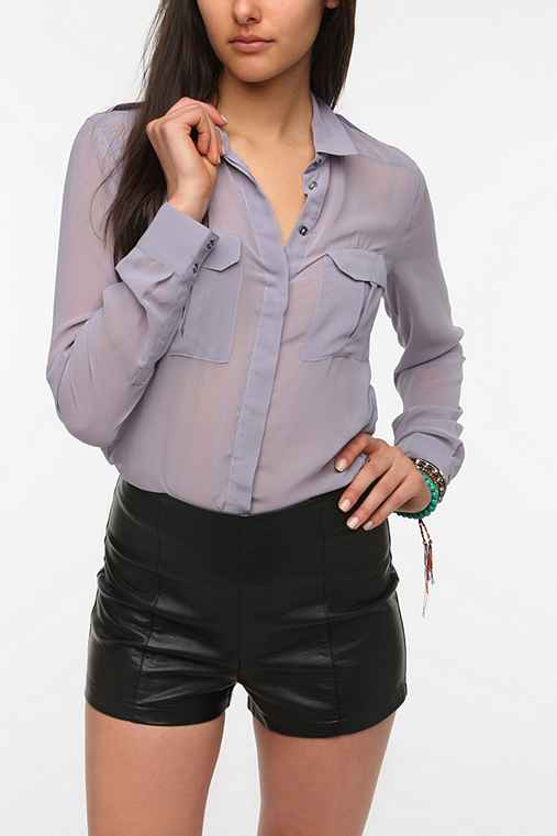 Silence + Noise Chiffon Military Blouse