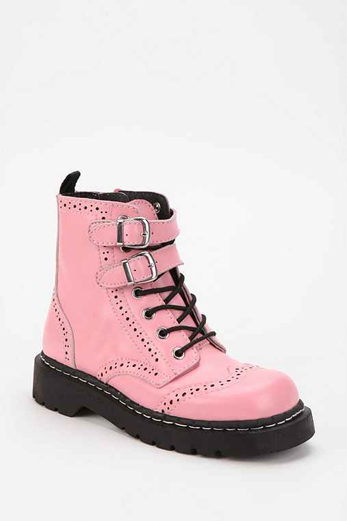 T.U.K. Double-Buckle Lace-Up Combat Boot