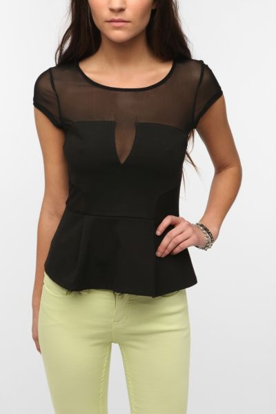 Silence & Noise Mesh Inset Bodycon Peplum Top