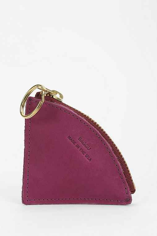 BAGGU Wedge Leather Keychain Zip-Pouch