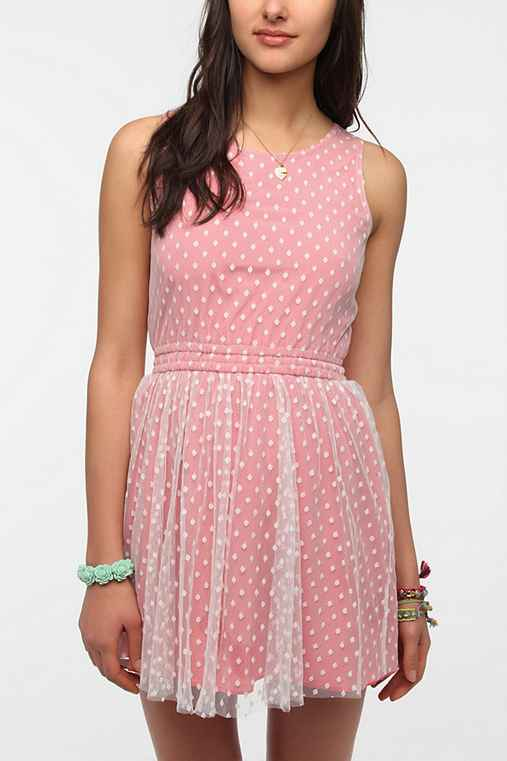 One & Only x Urban Renewal Lace Polka Dot Dress