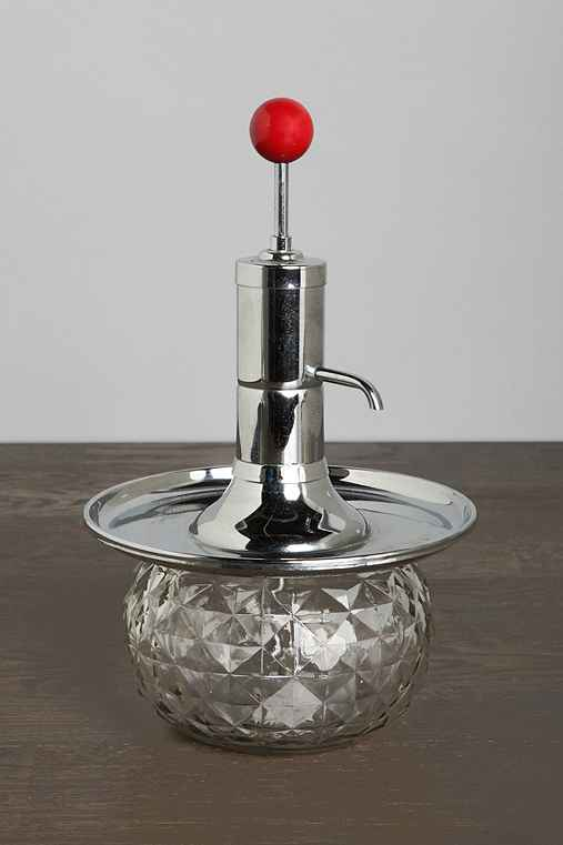 Vintage Red-Topped Glass Decanter