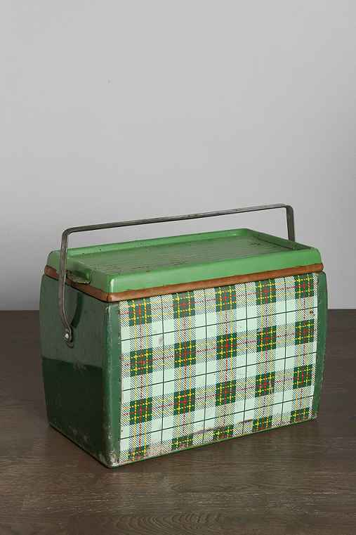 Vintage Plaid Metal Cooler