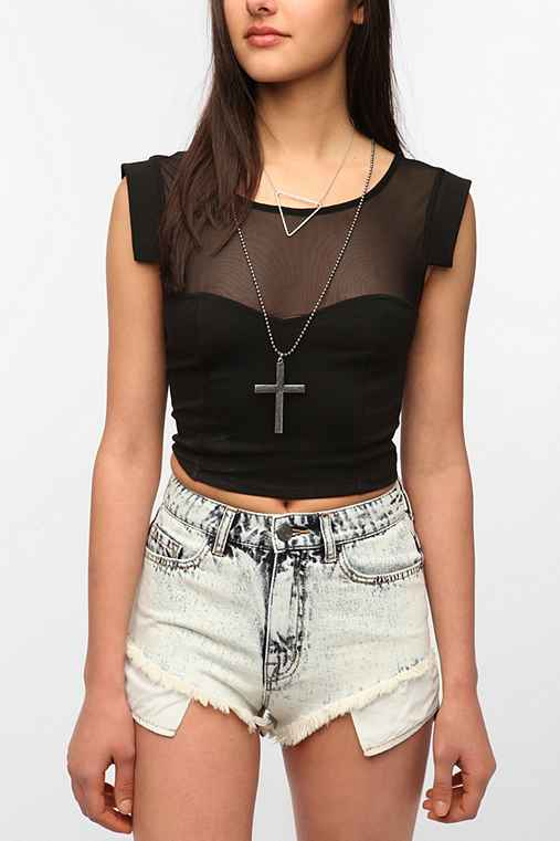 Silence + Noise Mesh Cropped Top