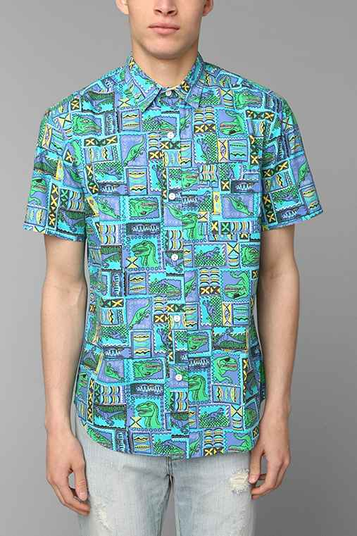 Shirts for all my friends psycho dino button down shirt for Awesome button down shirts