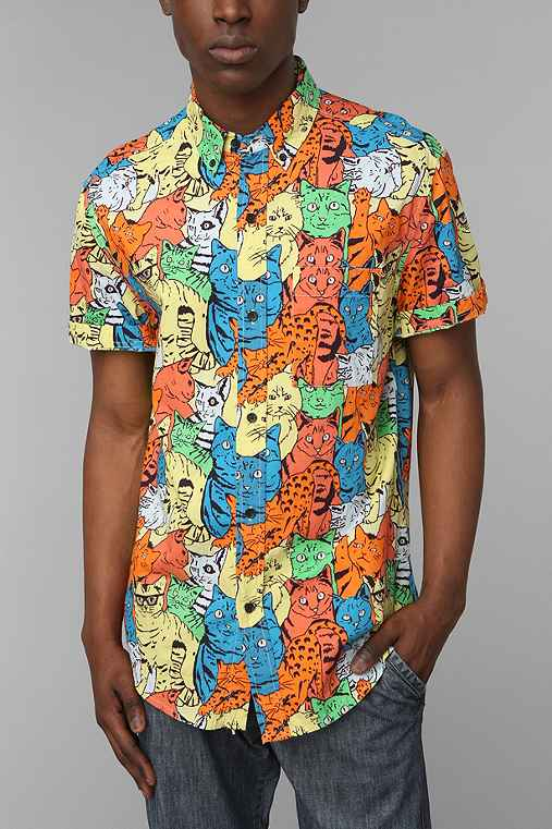 Shirts for all my friends weird kitty button down shirt for Lucky cat shirt urban outfitters