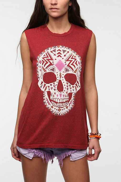 Truly Madly Deeply Boho Skull Muscle Tee