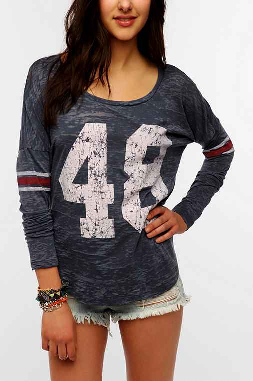Project social t lucky numbers long sleeve tee urban for Lucky cat shirt urban outfitters