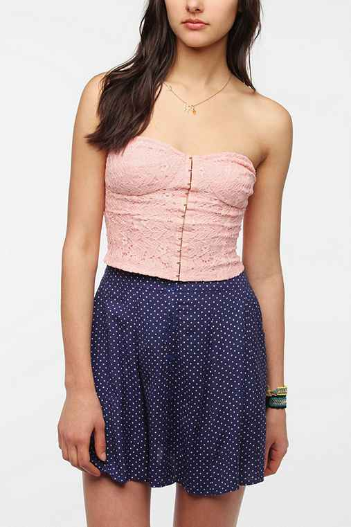Pins And Needles Hook & Eye Lace Strapless Top