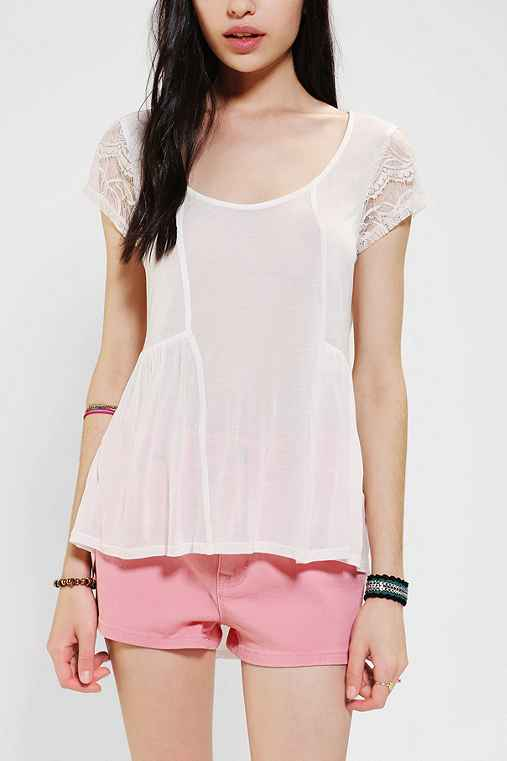 Tela Chiffon-Back High/Low Tee