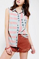 BDG Flag Print Sleeveless Chambray Shirt