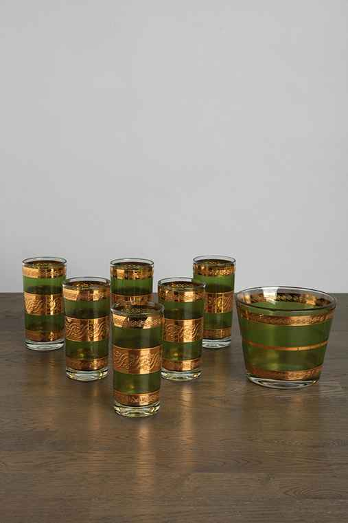 Vintage Green Glass Set