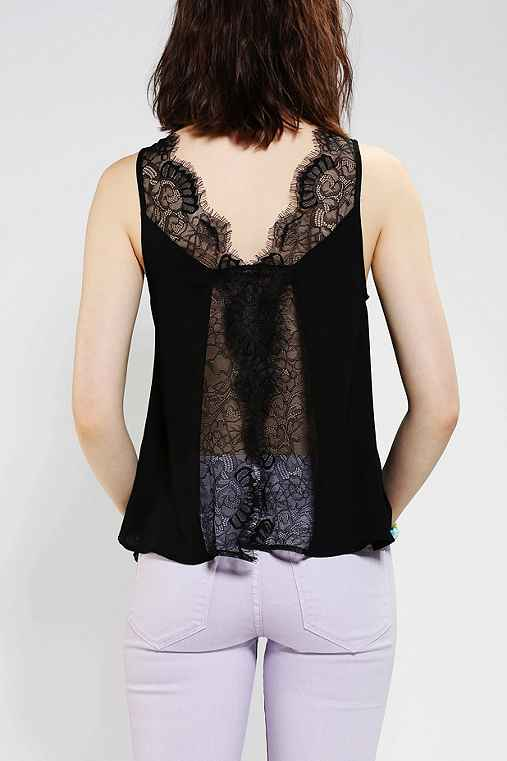 Pins And Needles Split-Back Lace Tank Top