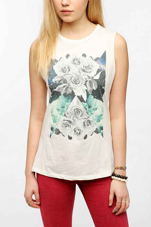Corner Shop White Roses Muscle Tee