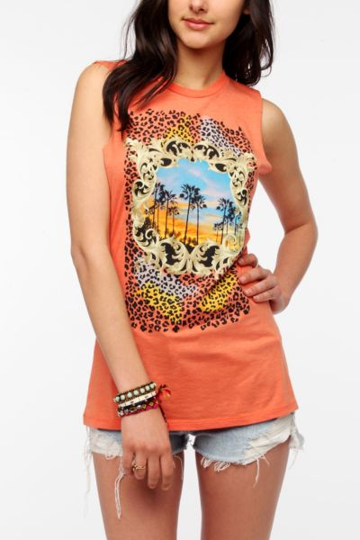 Corner Shop Gold Frame Cheetah Muscle Tee