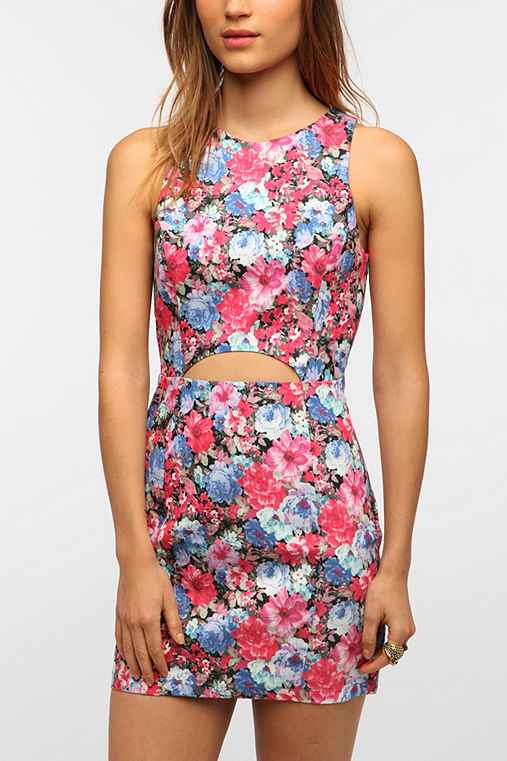 Lush Cutout Front Floral Shift Dress