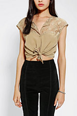 Thistlepearl  Lace-Top Tie-Front Cropped Shirt