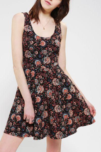 Ecote Boho Print Knit Skater Dress - Urban Outfitters
