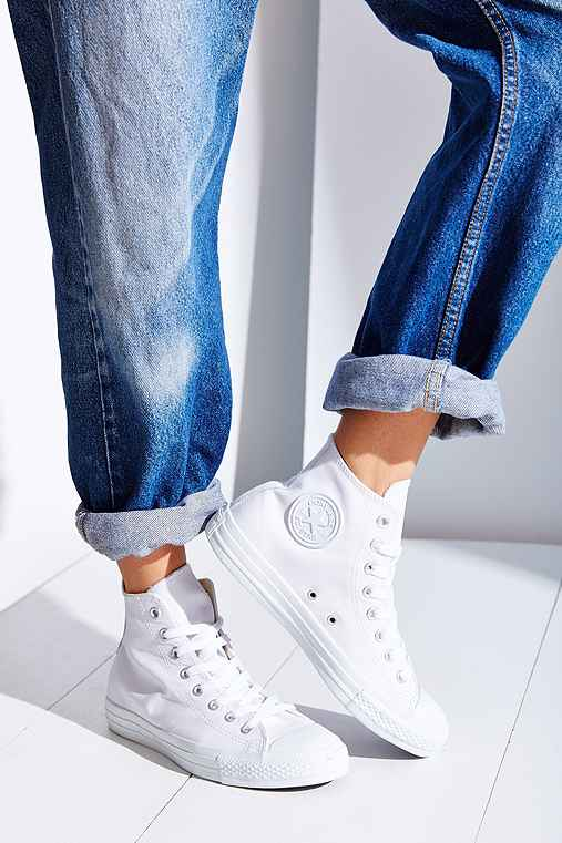 Converse Chuck Taylor All Star Leather High-Top Sneaker,WHITE,10