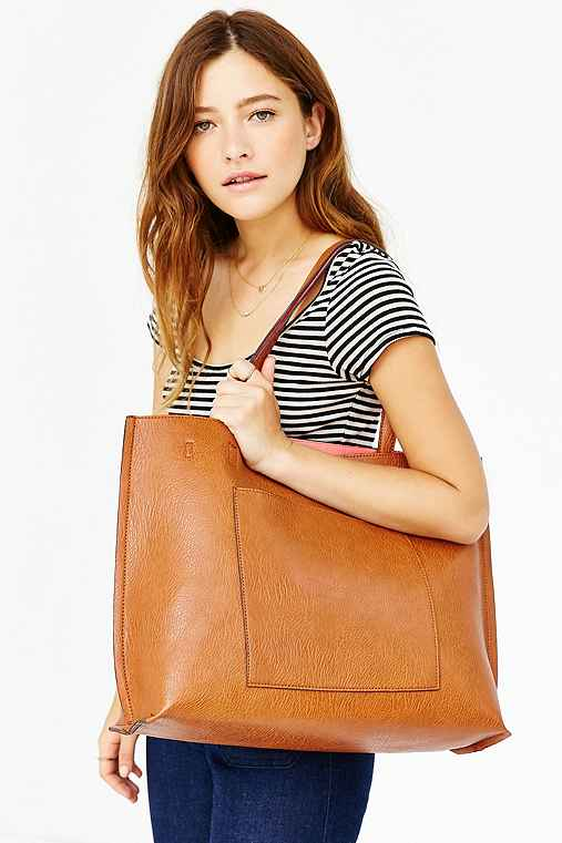 Reversible Vegan Leather Tote Bag,BROWN/CORAL,ONE SIZE