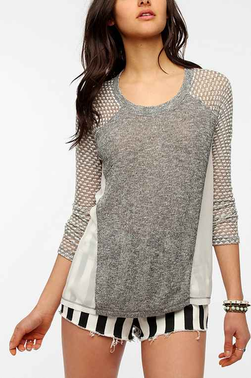 Sparkle & Fade Chiffon Blocked Sweater Knit Top