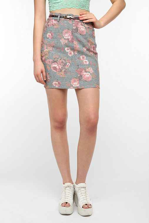 Lucca Couture Floral Denim Mini Skirt