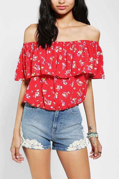 Lucca Couture Off-The-Shoulder Ruffle Blouse