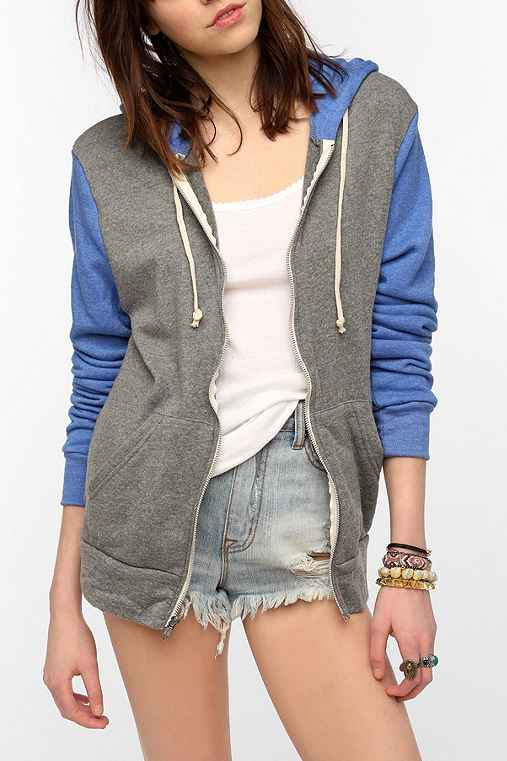 ALTERNATIVE Colorblock Rocky Zip-Up Hoodie Sweatshirt