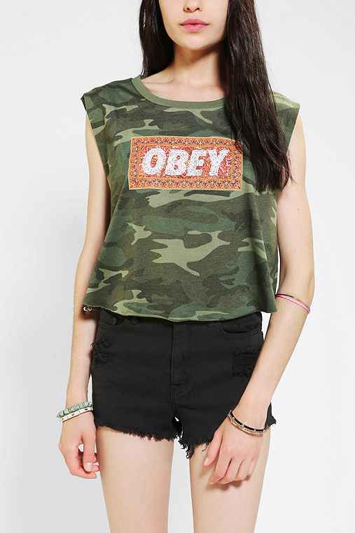 OBEY Carpet Font Cropped Muscle Tee